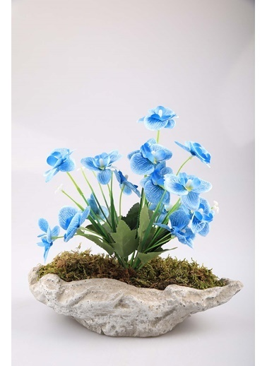 Kibrithane Çiçek Yapay Çiçek Beton Saksı Mini Mavi Kumaş Orkide Kc00200787 Renkli